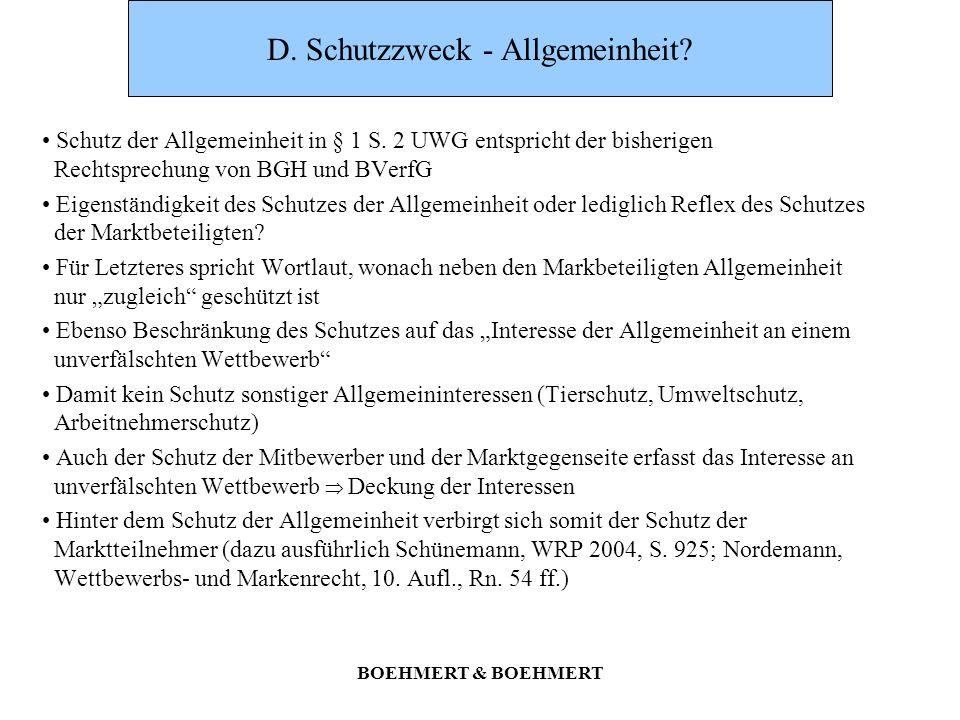 D. Schutzzweck - Allgemeinheit