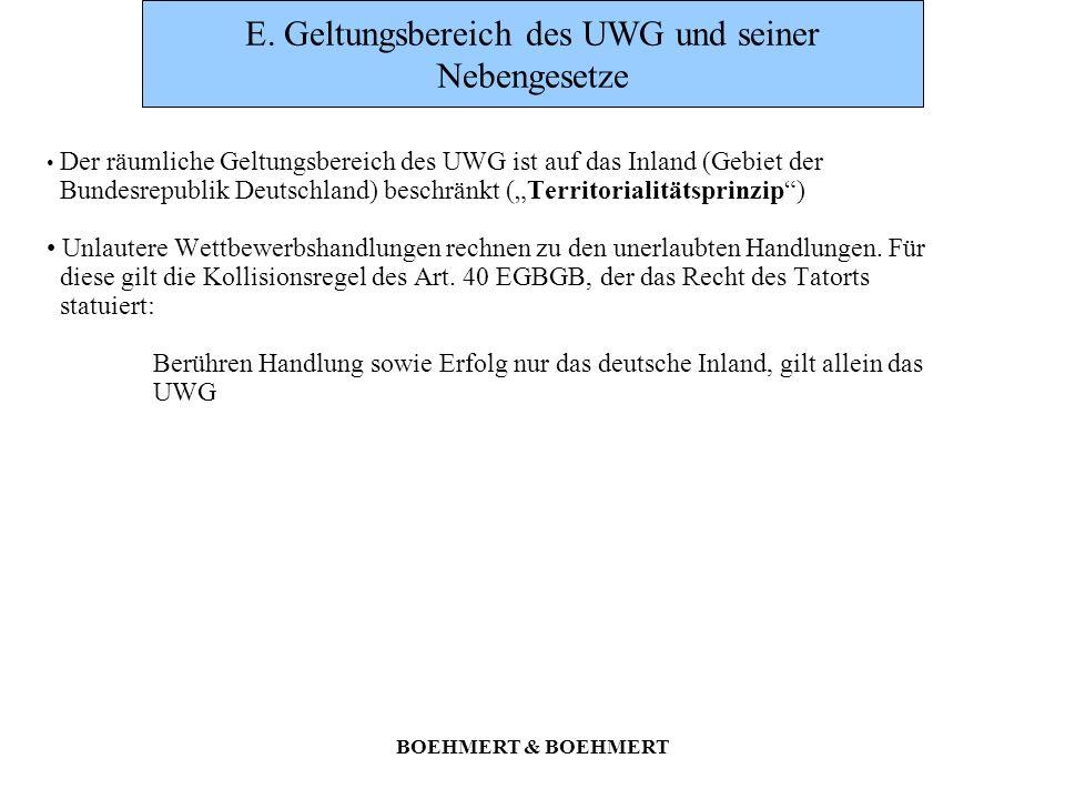 E. Geltungsbereich des UWG und seiner Nebengesetze