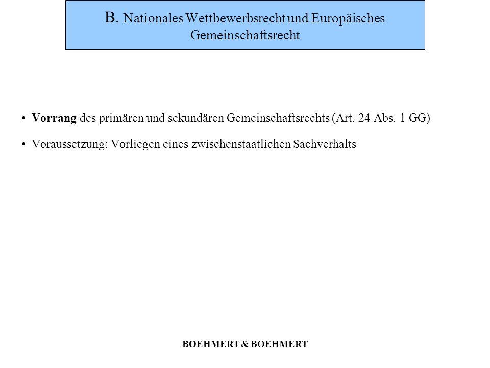 B. Nationales Wettbewerbsrecht und Europäisches Gemeinschaftsrecht