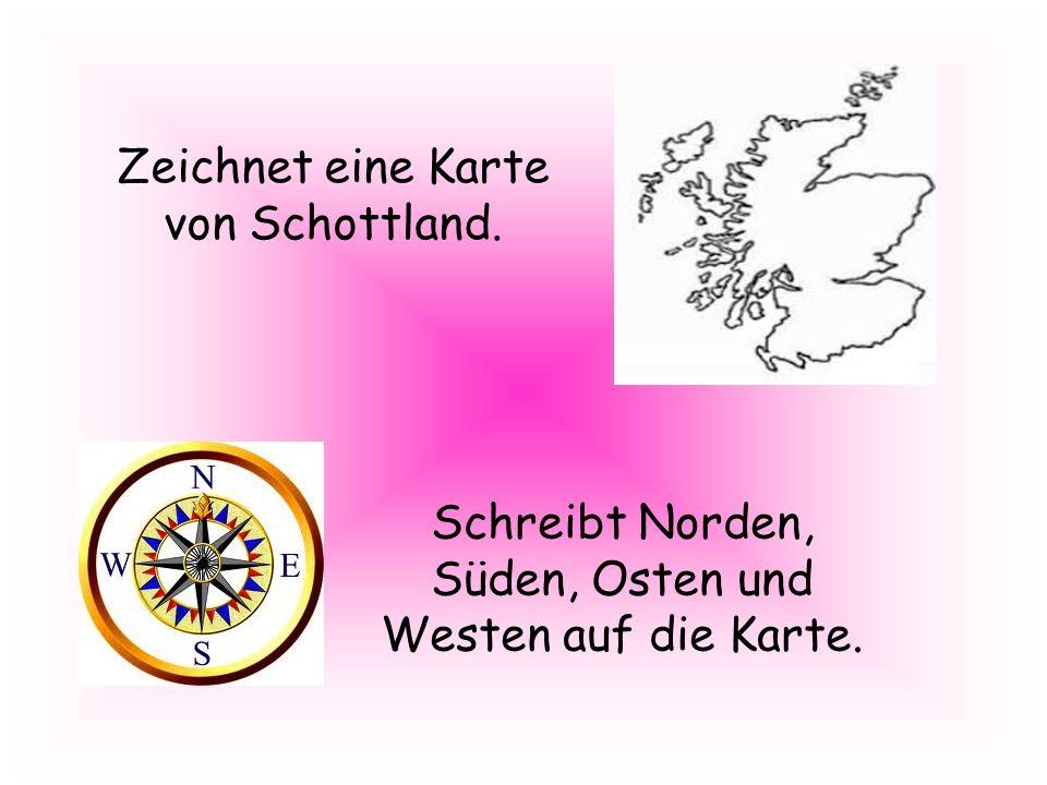 Zeichnet eine Karte von Schottland.