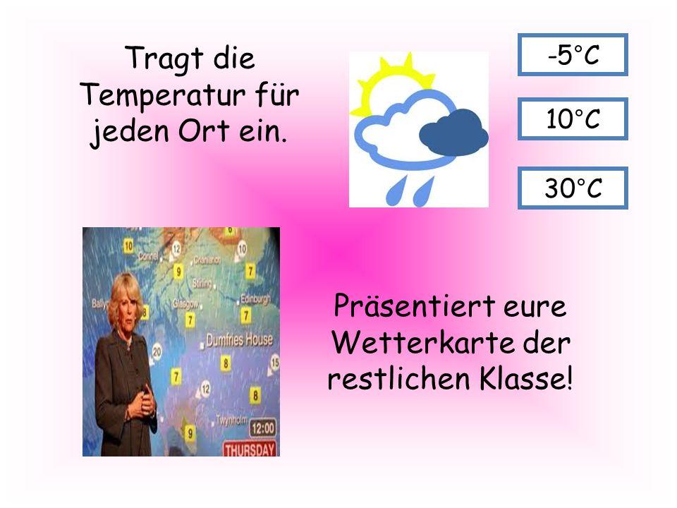 Tragt die Temperatur für jeden Ort ein.