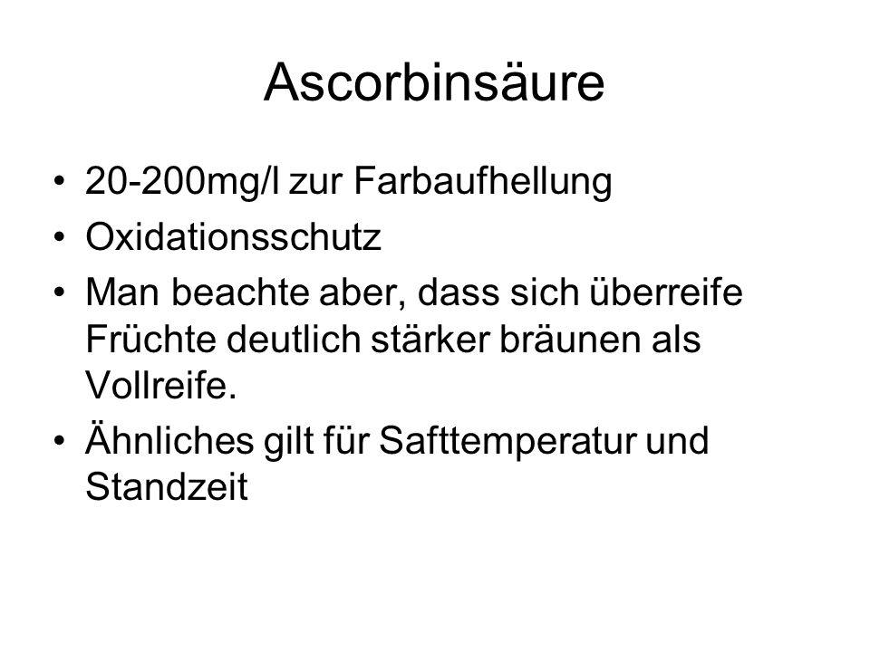 Ascorbinsäure 20-200mg/l zur Farbaufhellung Oxidationsschutz