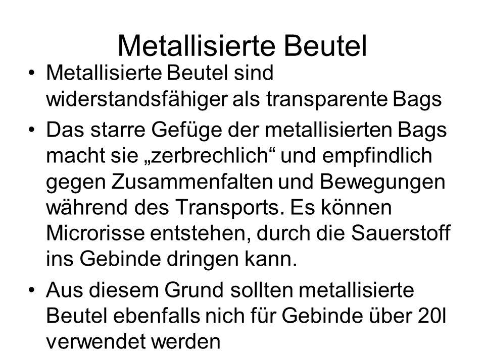 Metallisierte Beutel Metallisierte Beutel sind widerstandsfähiger als transparente Bags.