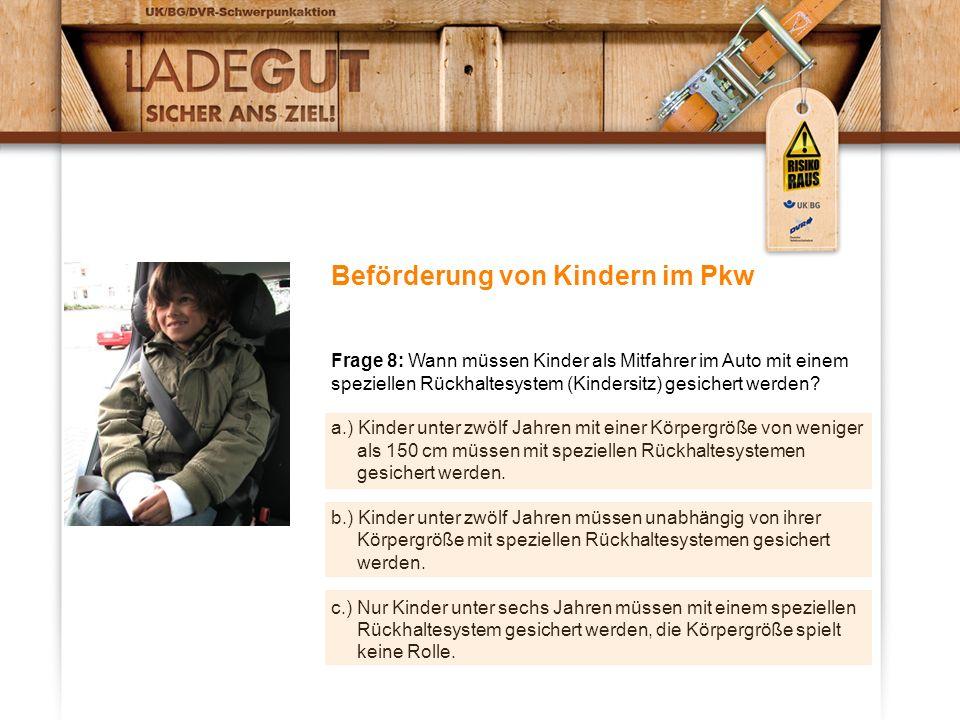 Beförderung von Kindern im Pkw