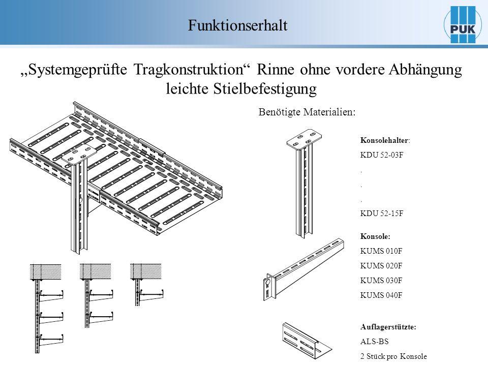 """Funktionserhalt """"Systemgeprüfte Tragkonstruktion Rinne ohne vordere Abhängung leichte Stielbefestigung."""
