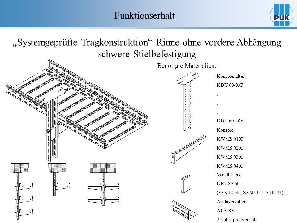 """Funktionserhalt """"Systemgeprüfte Tragkonstruktion Rinne ohne vordere Abhängung schwere Stielbefestigung."""
