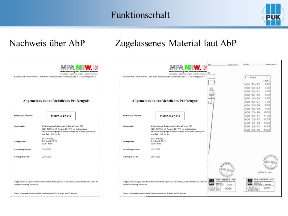 Funktionserhalt Nachweis über AbP Zugelassenes Material laut AbP