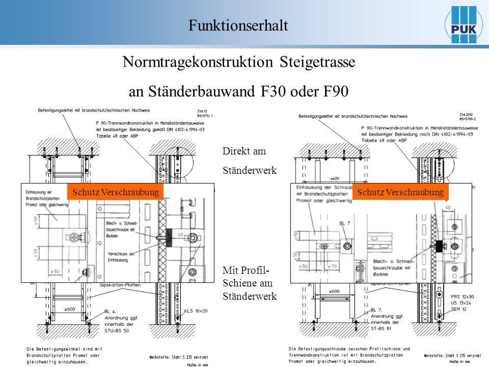 Normtragekonstruktion Steigetrasse an Ständerbauwand F30 oder F90