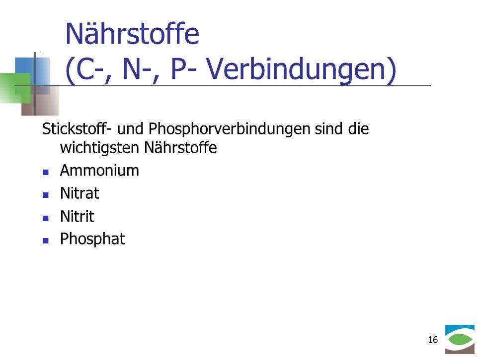 Nährstoffe (C-, N-, P- Verbindungen)