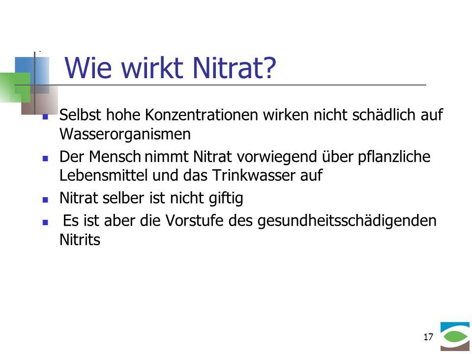 Wie wirkt Nitrat Selbst hohe Konzentrationen wirken nicht schädlich auf Wasserorganismen.