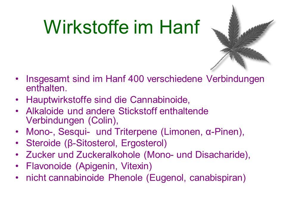 Wirkstoffe im Hanf Insgesamt sind im Hanf 400 verschiedene Verbindungen enthalten. Hauptwirkstoffe sind die Cannabinoide,
