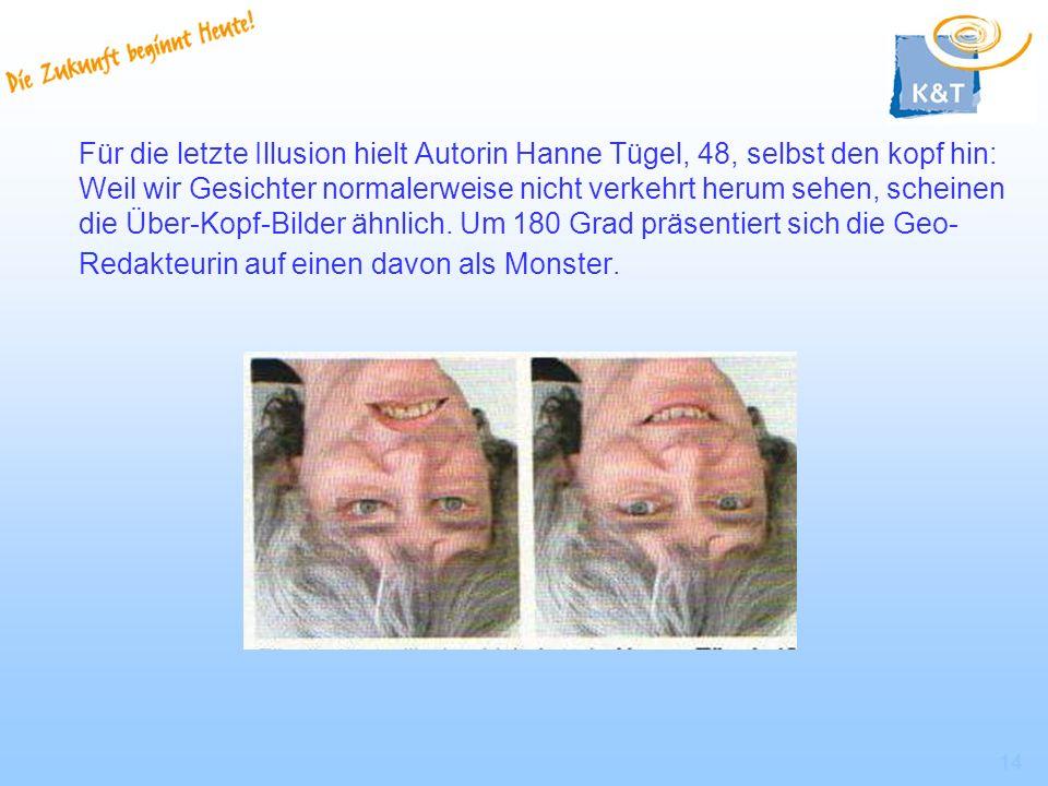 Für die letzte Illusion hielt Autorin Hanne Tügel, 48, selbst den kopf hin: Weil wir Gesichter normalerweise nicht verkehrt herum sehen, scheinen die Über-Kopf-Bilder ähnlich.