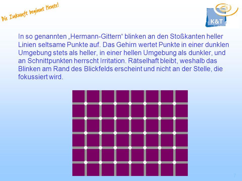 """In so genannten """"Hermann-Gittern blinken an den Stoßkanten heller Linien seltsame Punkte auf."""