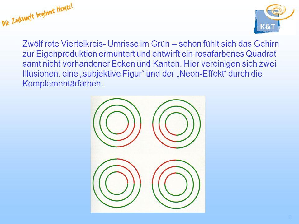 Zwölf rote Viertelkreis- Umrisse im Grün – schon fühlt sich das Gehirn zur Eigenproduktion ermuntert und entwirft ein rosafarbenes Quadrat samt nicht vorhandener Ecken und Kanten.