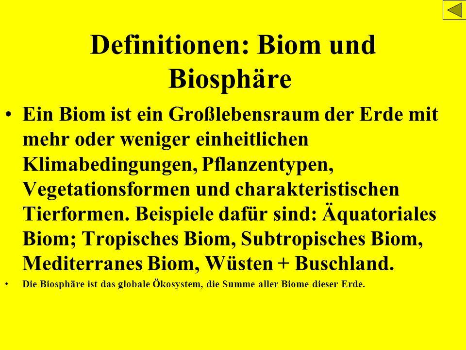 Definitionen: Biom und Biosphäre