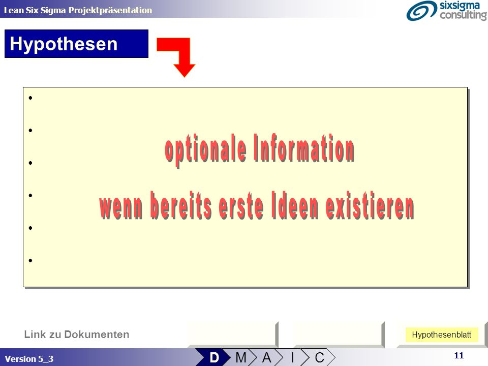 optionale Information wenn bereits erste Ideen existieren