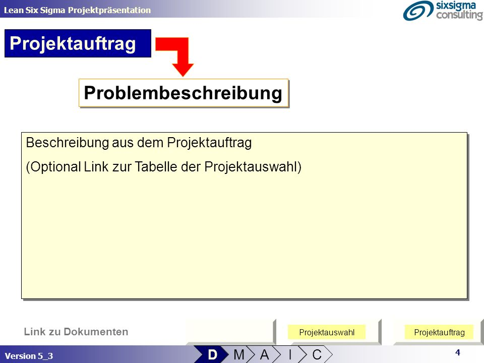 Projektauftrag Problembeschreibung Beschreibung aus dem Projektauftrag