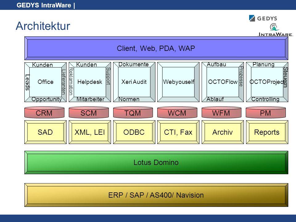 Architektur Client, Web, PDA, WAP CRM SCM TQM WCM WFM PM SAD XML, LEI