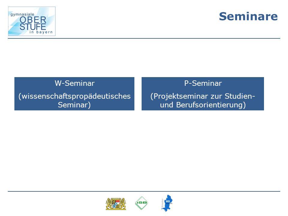 Seminare W-Seminar (wissenschaftspropädeutisches Seminar) P-Seminar