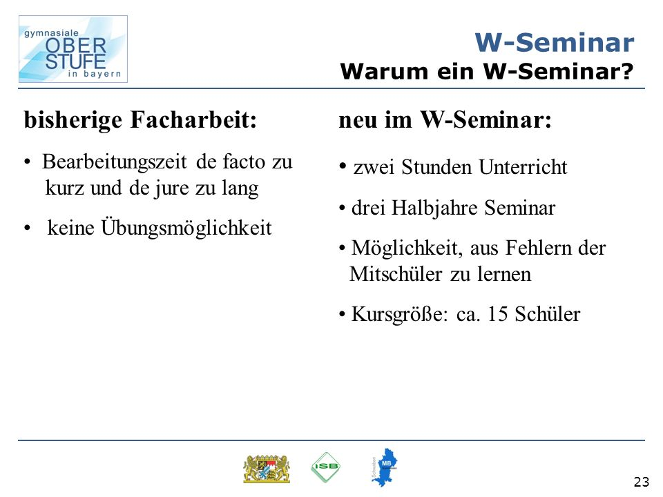 W-Seminar Warum ein W-Seminar
