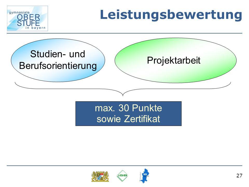 Leistungsbewertung Studien- und Projektarbeit Berufsorientierung