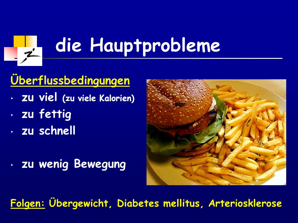 die Hauptprobleme Überflussbedingungen zu viel (zu viele Kalorien)