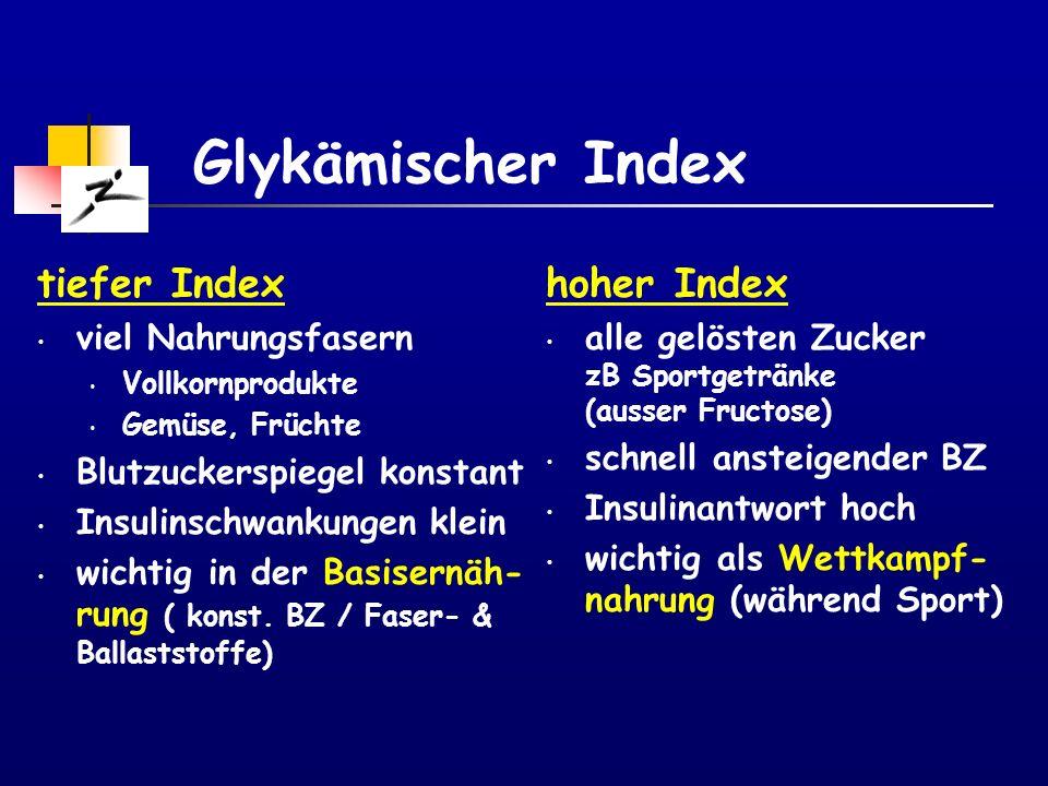 Glykämischer Index tiefer Index hoher Index viel Nahrungsfasern