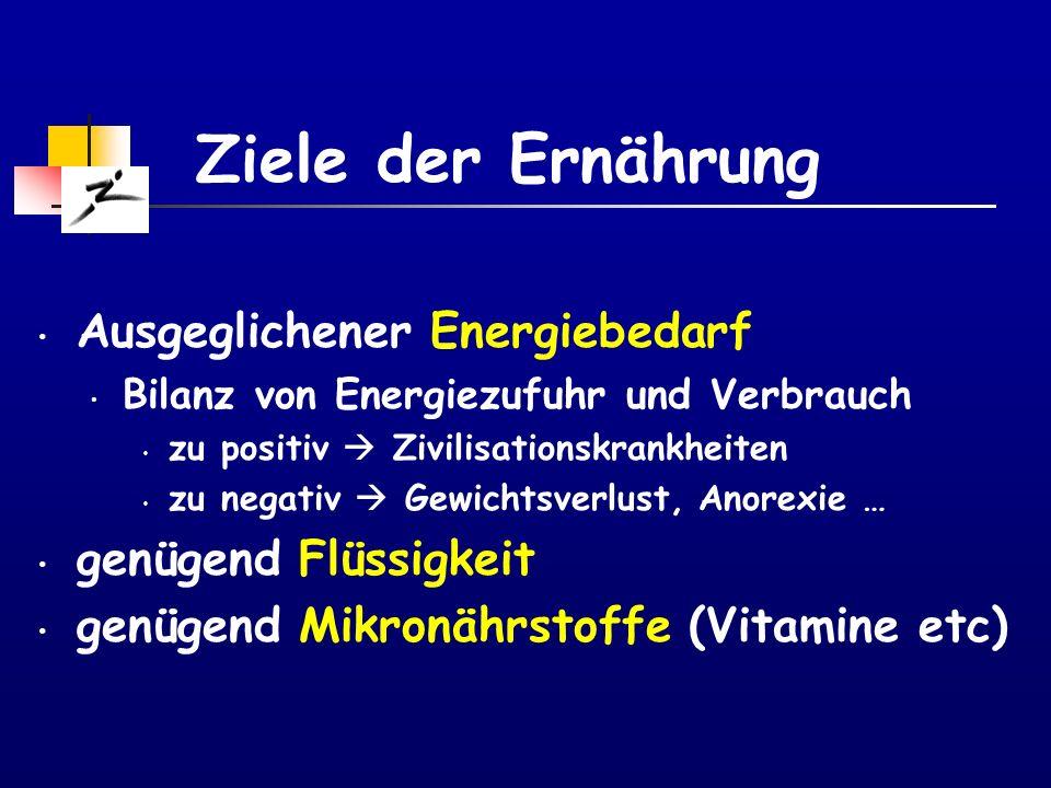 Ziele der Ernährung Ausgeglichener Energiebedarf genügend Flüssigkeit