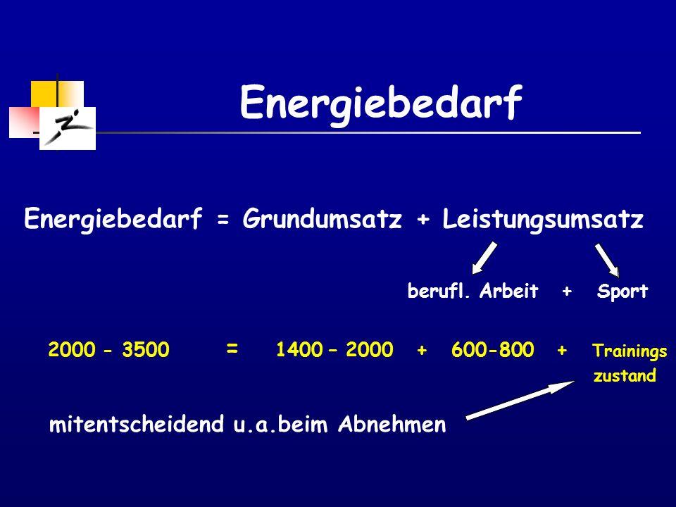 Energiebedarf Energiebedarf = Grundumsatz + Leistungsumsatz