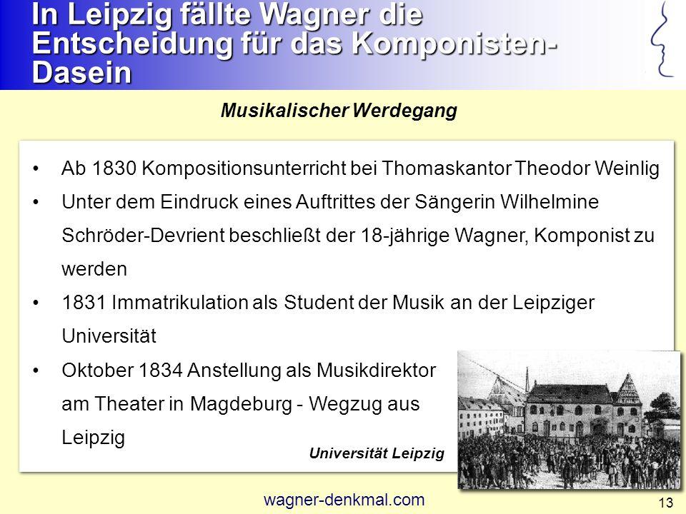 In Leipzig fällte Wagner die Entscheidung für das Komponisten-Dasein
