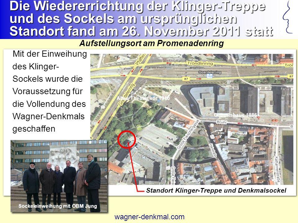 Die Wiedererrichtung der Klinger-Treppe und des Sockels am ursprünglichen Standort fand am 26. November 2011 statt