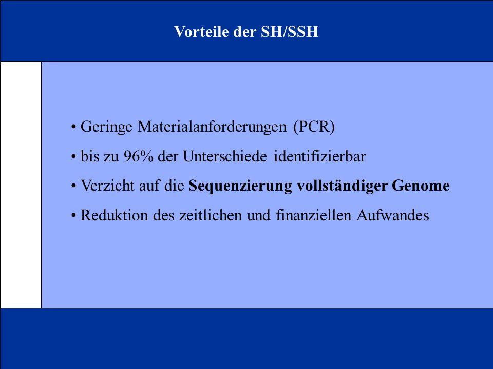 Vorteile der SH/SSH • Geringe Materialanforderungen (PCR) • bis zu 96% der Unterschiede identifizierbar.
