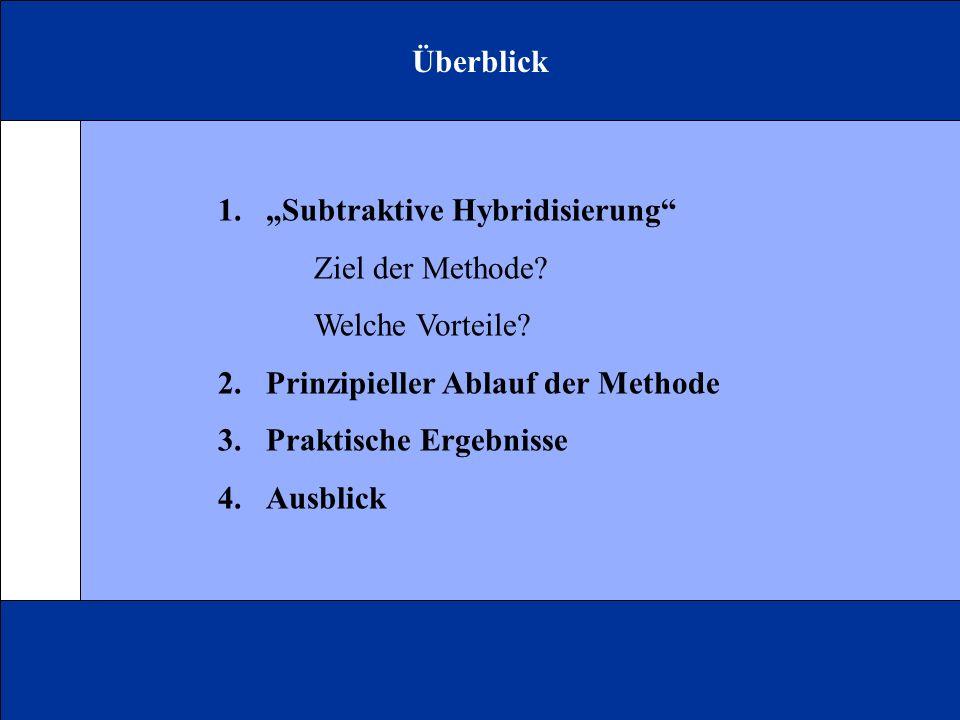 """Überblick """"Subtraktive Hybridisierung Ziel der Methode Welche Vorteile 2. Prinzipieller Ablauf der Methode."""