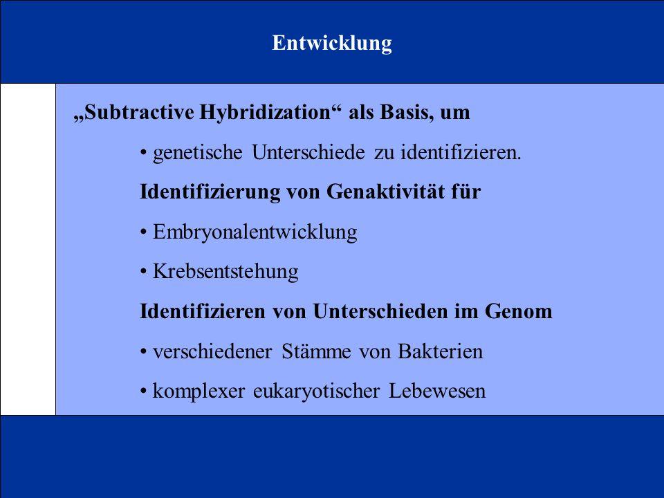 """Entwicklung """"Subtractive Hybridization als Basis, um. • genetische Unterschiede zu identifizieren."""