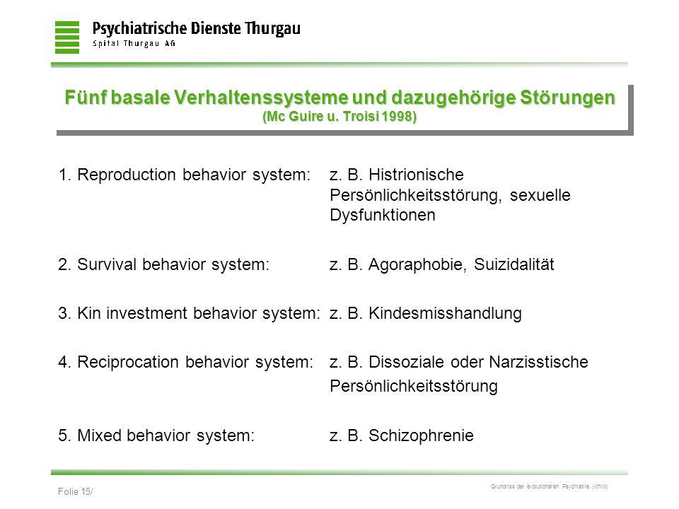 Fünf basale Verhaltenssysteme und dazugehörige Störungen (Mc Guire u