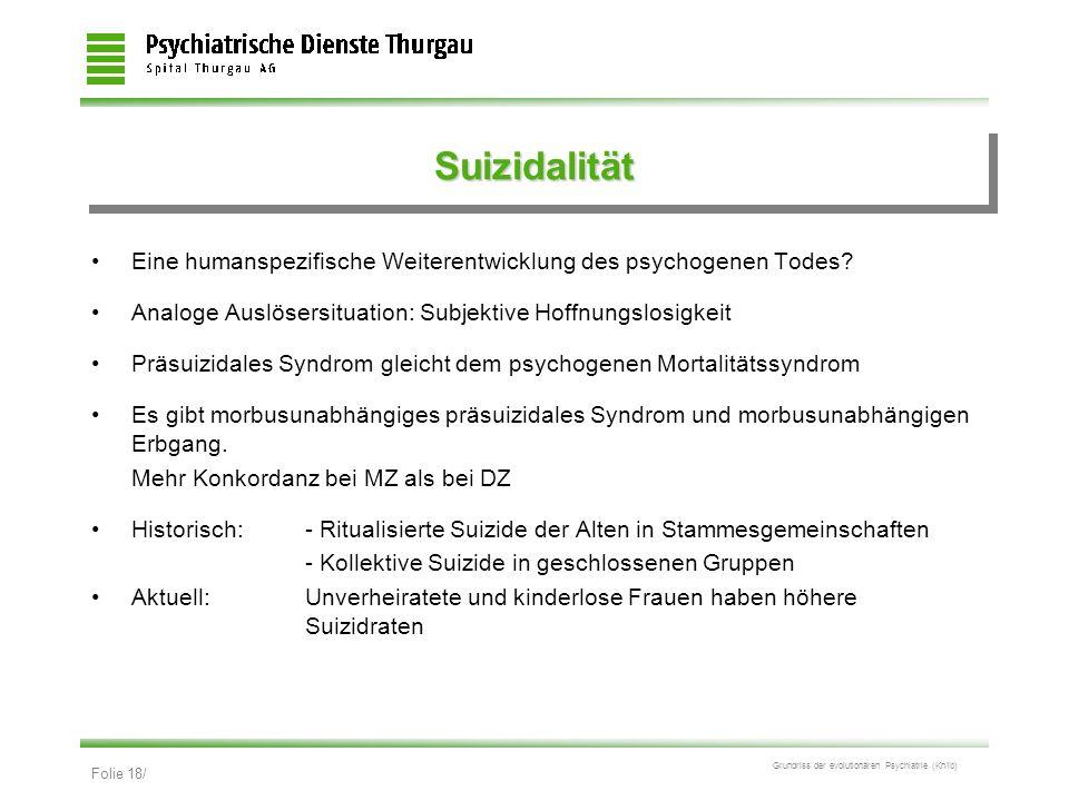 Suizidalität Eine humanspezifische Weiterentwicklung des psychogenen Todes Analoge Auslösersituation: Subjektive Hoffnungslosigkeit.