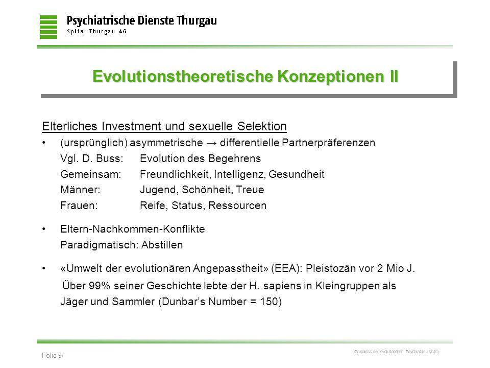 Evolutionstheoretische Konzeptionen II