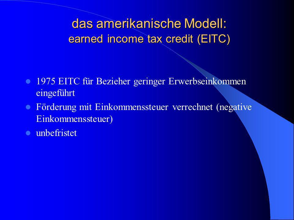das amerikanische Modell: earned income tax credit (EITC)