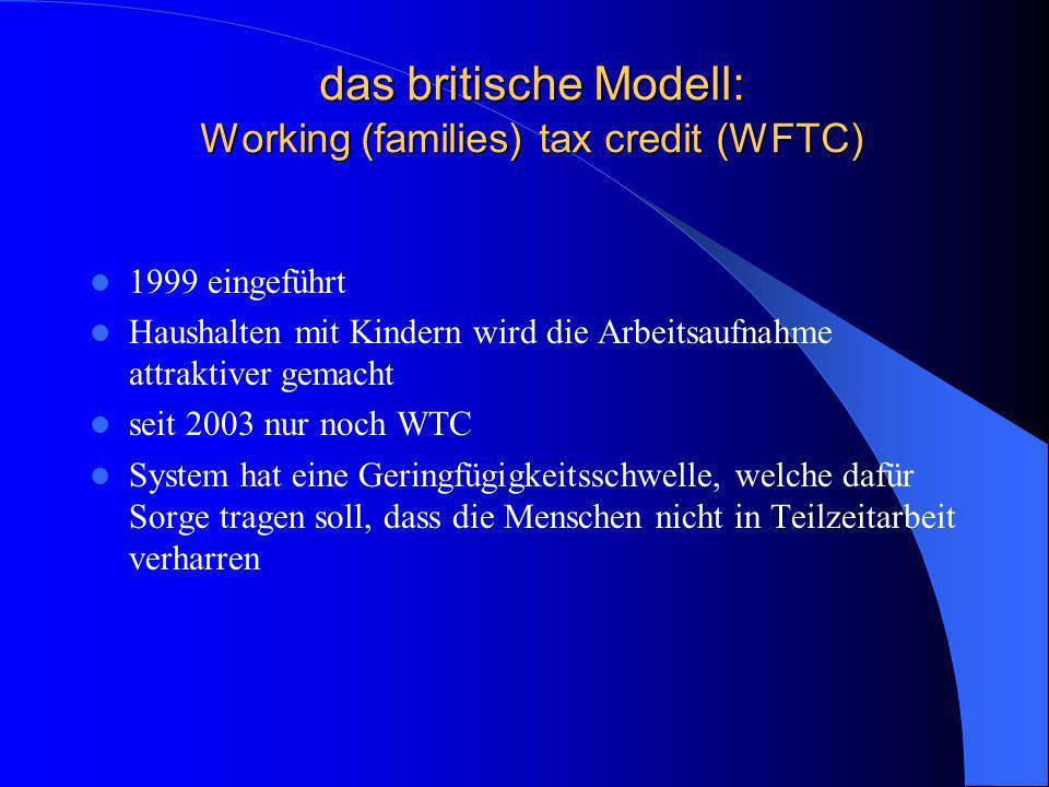 das britische Modell: Working (families) tax credit (WFTC)