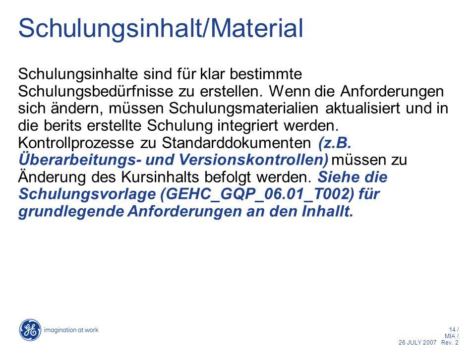Schulungsinhalt/Material