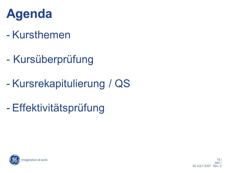 Agenda Kursthemen - Kursüberprüfung Kursrekapitulierung / QS
