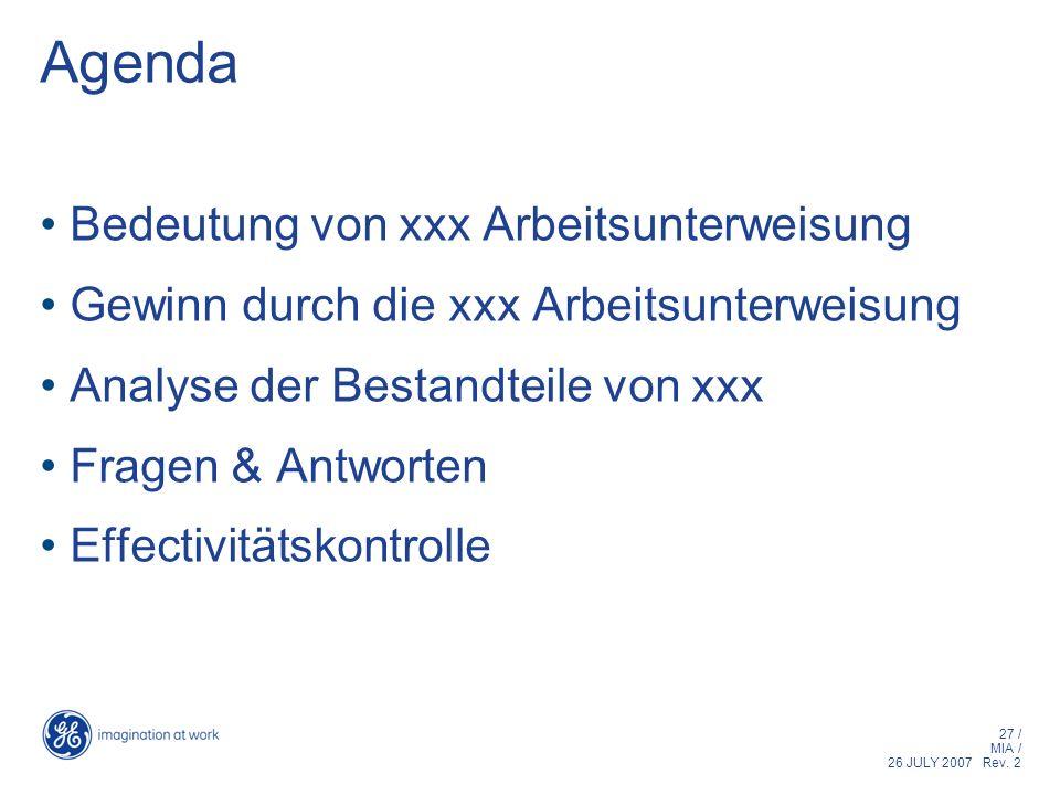 Agenda Bedeutung von xxx Arbeitsunterweisung