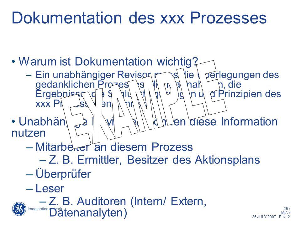 Dokumentation des xxx Prozesses