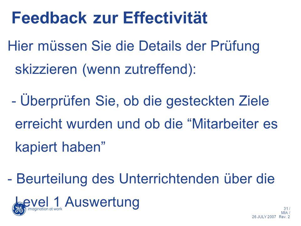 Feedback zur Effectivität