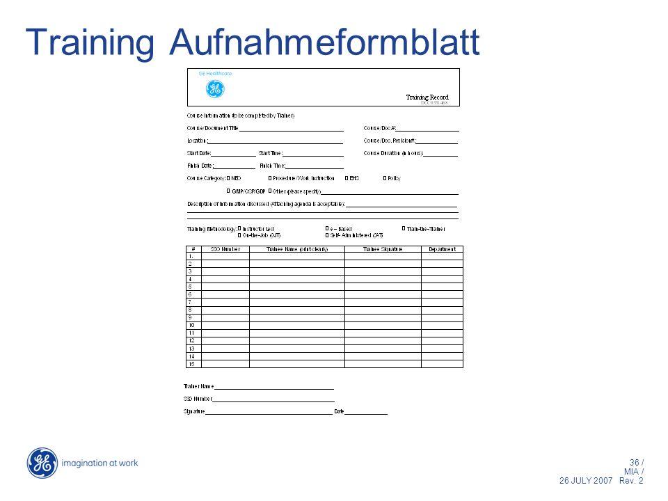 Training Aufnahmeformblatt