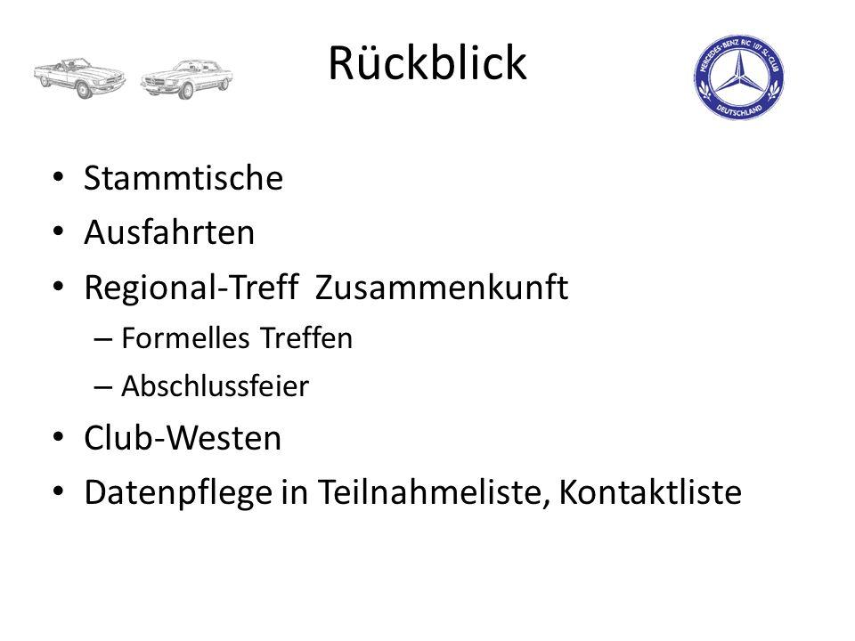 Rückblick Stammtische Ausfahrten Regional-Treff Zusammenkunft