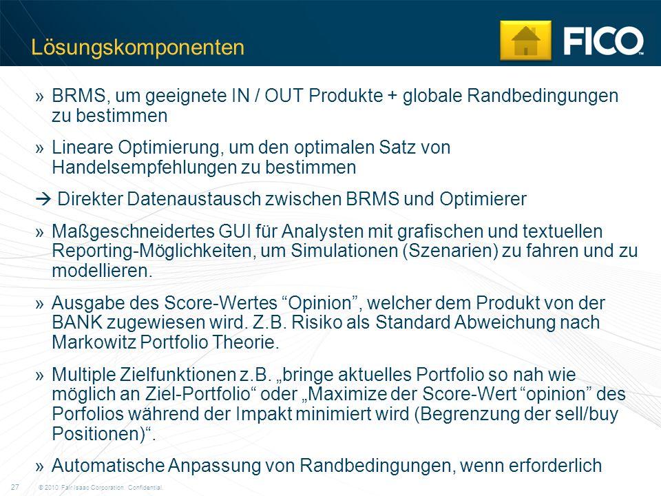 Lösungskomponenten BRMS, um geeignete IN / OUT Produkte + globale Randbedingungen zu bestimmen.