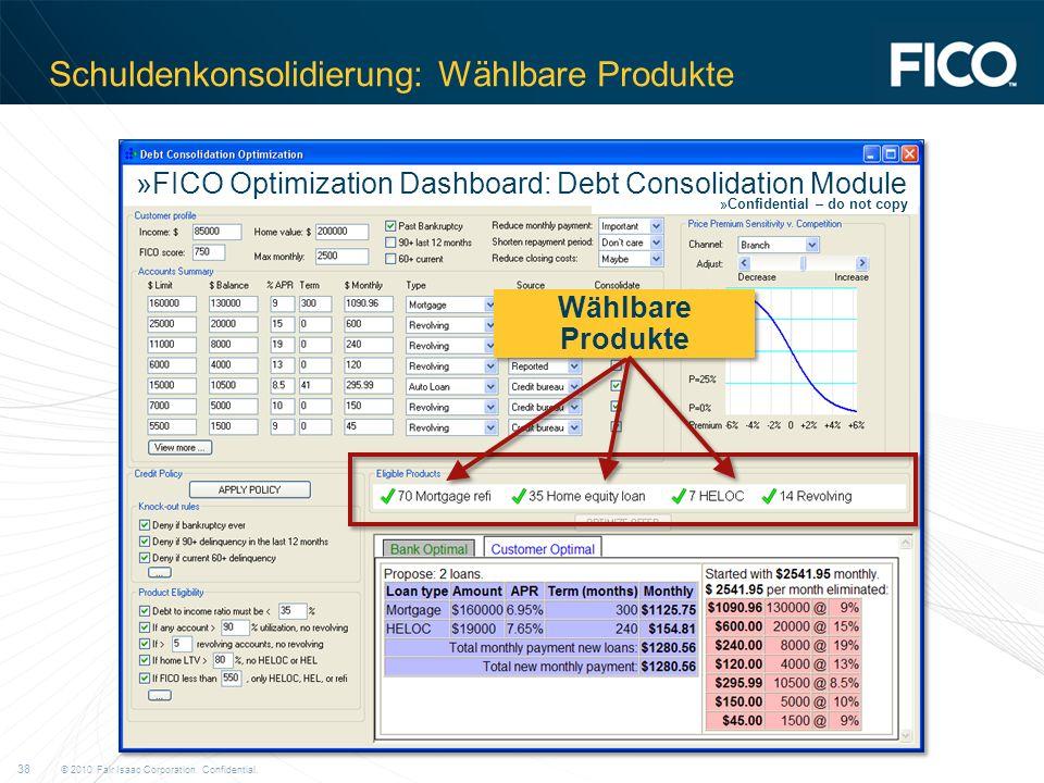 Schuldenkonsolidierung: Wählbare Produkte
