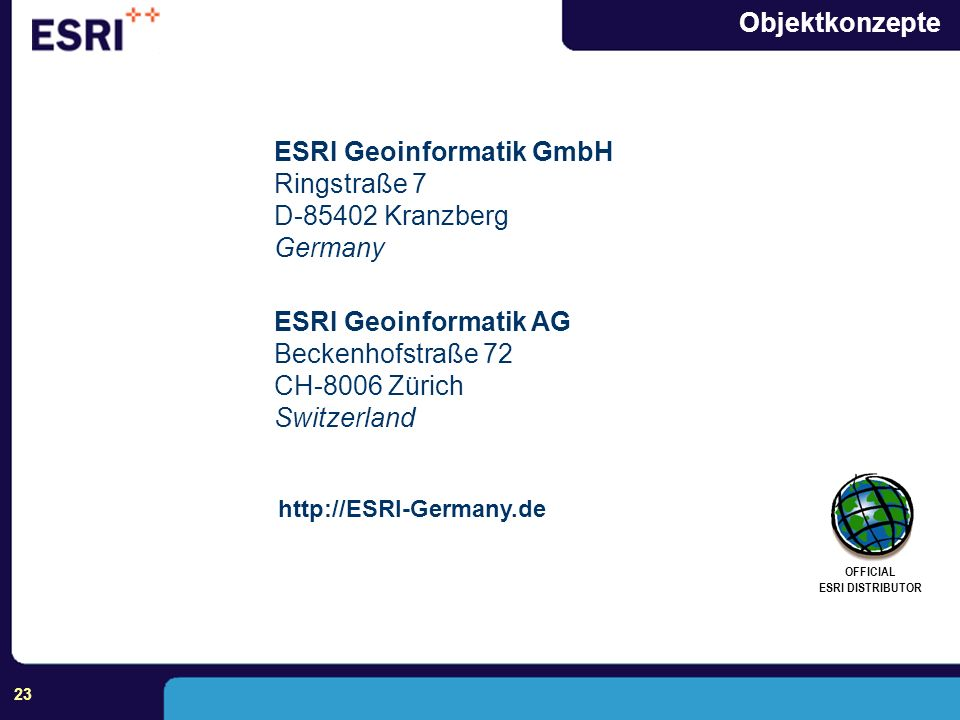 ESRI Geoinformatik GmbH Ringstraße 7 D-85402 Kranzberg Germany