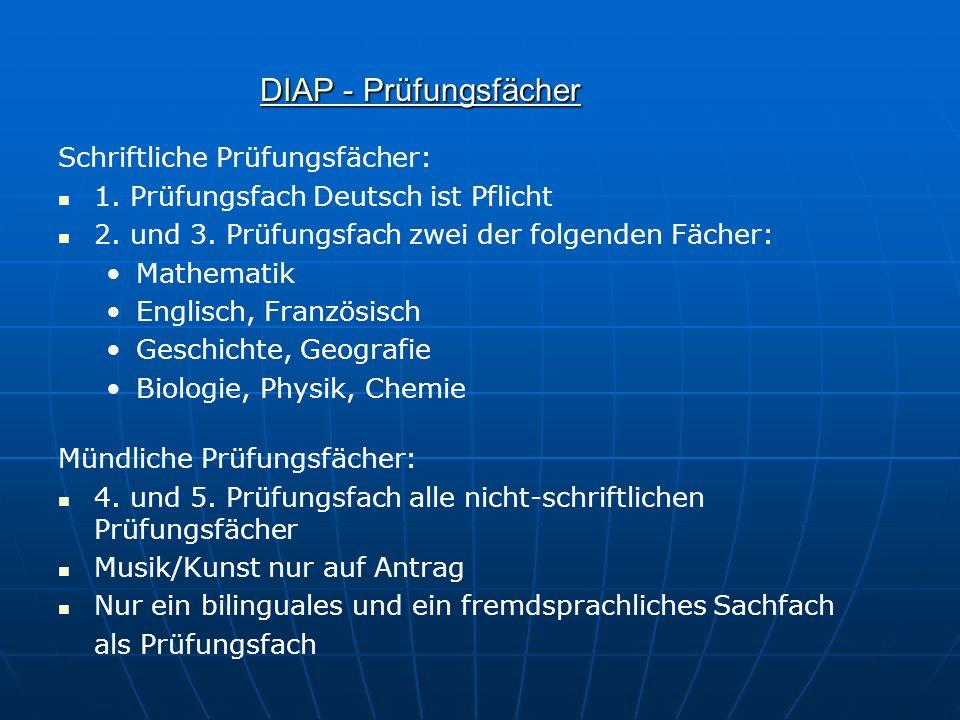 DIAP - Prüfungsfächer Schriftliche Prüfungsfächer: